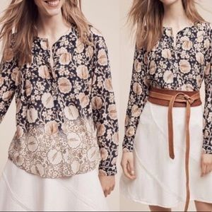 Maeve Anthropologie Floral Orli Bibbed Button down